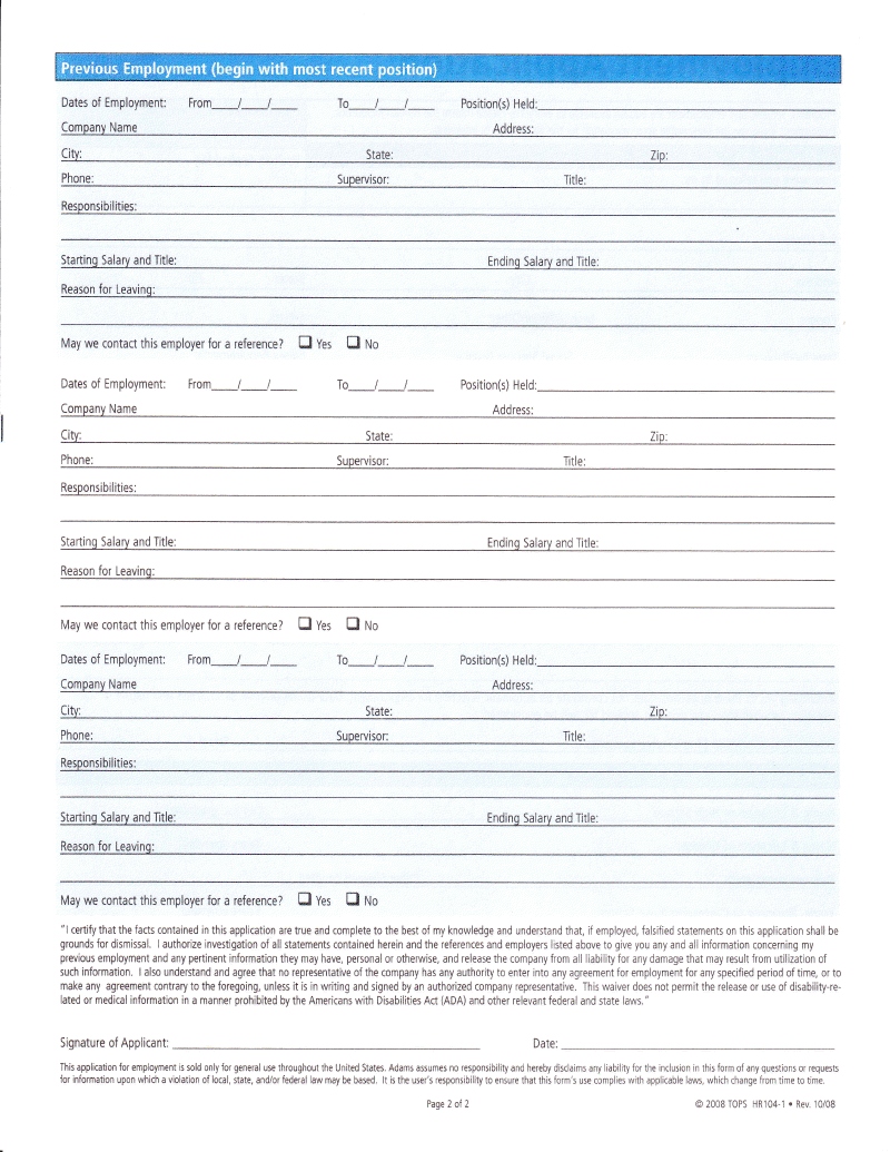 results employment applications free printable employment application ...
